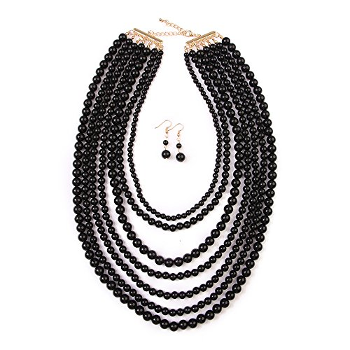 Exaggerated Big Fashion Jewelry Wholesale Fashion Imitation Pearl Multi-layer Bead Necklace Accessories (Black)