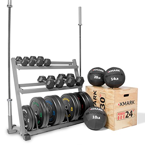 XMark Training Set For The Serious Competitor, 28 mm and 25 mm Olympic Bars, Plate Weights, Dumbbells, Jump Box, Wall Balls and Storage Unit XMark-Cross by XMark