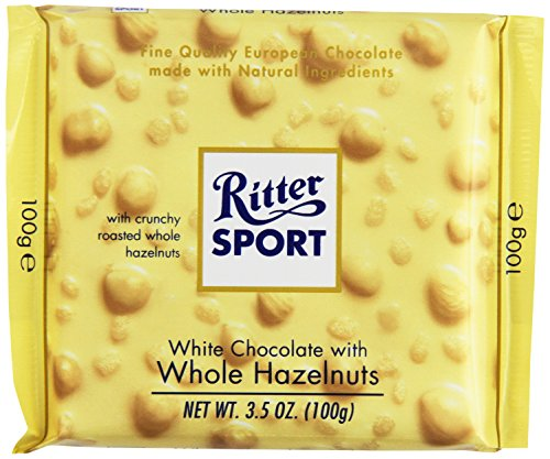 Ritter Sport, White Chocolate with Whole Hazelnuts, 3.5-Ounce Bars (Pack of 10)