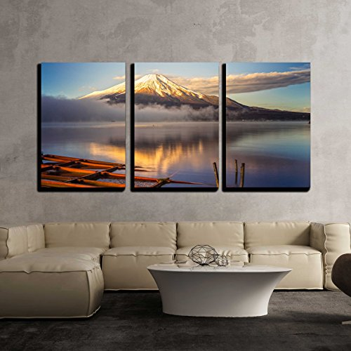 Dawn Framed Art - wall26 - 3 Piece Canvas Wall Art - Mount Fuji Reflected in Lake Yamanaka at Dawn, Japan. - Modern Home Decor Stretched and Framed Ready to Hang - 16