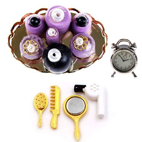 Dengguoli 1:12 Miniature Purple Perfume Set Dollhouse Hair Drier Comb Mirror Makeup Set Dollhouse Miniature Metal Alarm Clock