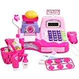 Big Dragonfly High Quality Happy Babies Pretend and Play Supermarket Cash Register Kits for Kids Childrenfs Cool Educational Toys Exquisite Gift Box Package Pink