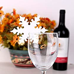 OWIKAR 50 Pieces Snowflake Place Name Cards Snowflake Party Table Guest Name Place Cards for Wine Glasses Christmas/Winter Wedding Table Decorations (White)