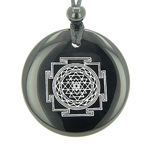 - BestAmulets Sri Yantra Chakra Talisman Black Agate Magic Pendant Necklace