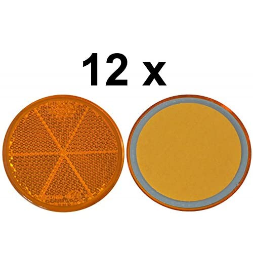 12x Spot–Réflecteur arrière–Collage–Ø 60mm–Jaune–E de marque de contrôle
