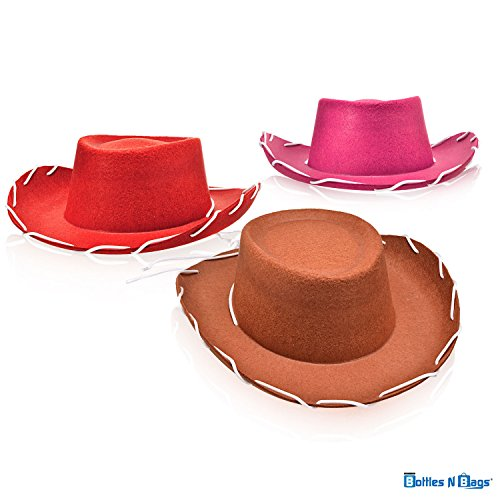 Bottles N Bags 3 Pack of Children's Felt Cowboy Hats in Pink, Red and Brown (Dress up Like Woody and Jessie) (3 Hats (1 Brown, 1 Red, 1 Pink))