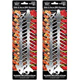 Proud Grill Slide & Serve BBQ Skewers - 4 Count. Stainless Steel Reusable Barbecue Skewers.