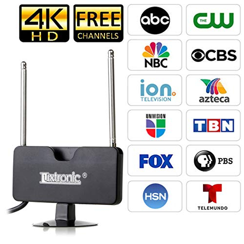 - (2019 New Model) Luxtronic Indoor Mini TV Antenna, 40 Miles Signal Reception for 1080P, VHF and UHF, Get Free Local Channels for Smart TV, HDTV and TV Turner with Multi-Positioning Suction Cup- Black