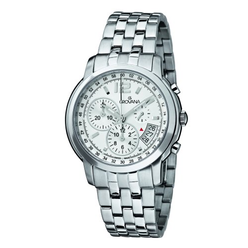 Grovana Men's 1581-9132 Traditional Analog Display Swiss Quartz Silver Watch