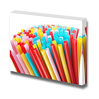 Canvas Prints Wall Art - Colorful Drinking Straws | Modern Wall Decor/Home Art Stretched Gallery Wraps Giclee Print & Wood Framed. Ready to Hang - 12