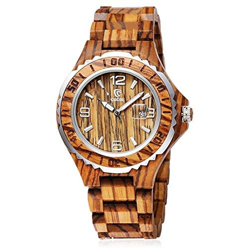 CUCOL Men's Zebra Wood Watch Analog Quartz Date Display Geometrical...