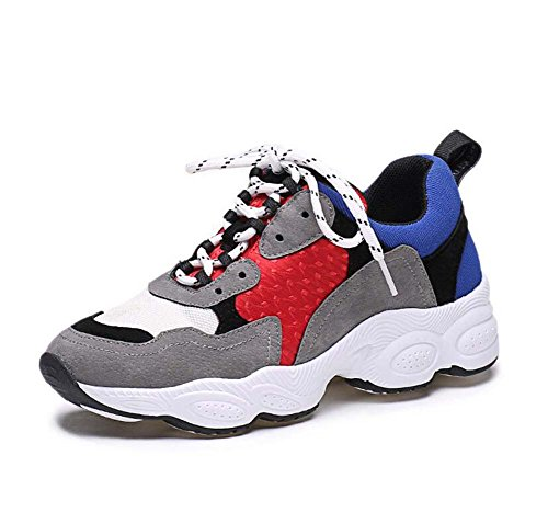 Thick Casual Toe Color blue Running And Stitching Shoes Snakers Shoes Breathable Eu Red 34 New Match Size Simple Shoelace 40 Autumn Spring Shoes 2017 and Bottom Women Round Sport Pump 8OZxzqZ