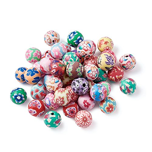 Pandahall 200pcs 039 Inch Assorted Colorful Fimo Polymer Clay Round Beads Bubblegum Ball Beads Charms Flower Printed for Jewelry Makings 10mm