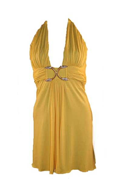 Sky yellow halter dress