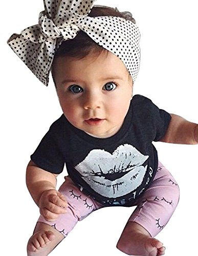 Little Girls Lip Print Top with Pink Leggings, Outfits Clothes Set (Black & Pink Lip, Size 80/6-12month)