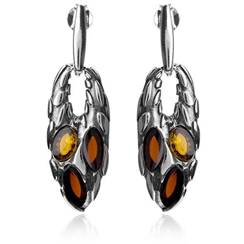 Noda Bague Ambre multicolore argent sterling Griffe Set Boucles d'oreilles pendentif collier corde 43cm
