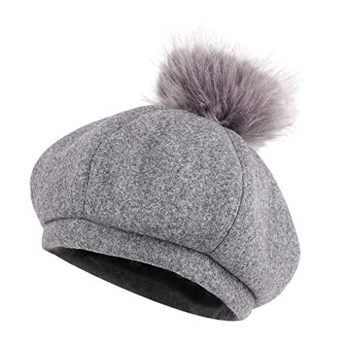 Kids Girls French Beret Hat Beanie Fashion Wool Toddler Tam Hat Photo Prop Winter Cap Artist Cowboy Hats Xmas Gifts (Grey) -