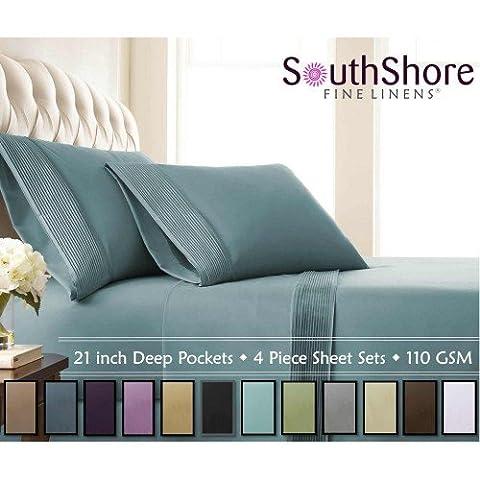 Southshore Fine Linens® - 5 Piece - Extra Deep Pocket Pleated Sheet Set , SPLIT KING , STEEL BLUE (Split King Sheet Deep Pocket)