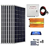 ECO-WORTHY 800 Watts Solar Panel Kit: 8pcs 100W Poly Solar Panel + 3KW 24V-110V Off Grid Inverter + Combiner Box + 15ft Solar Cable + 60A PWM Charge Controller + Z Mounting Brackets