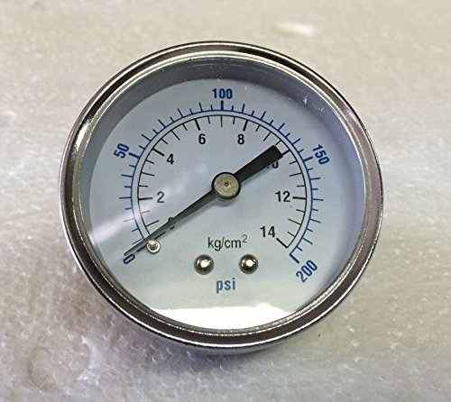 Air Compressor Pressure/Hydraulic Gauge 2.5 Face Back Mount 1/4 NPT 0-200 PSI made in usa