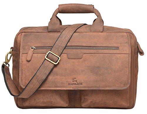 Leaderachi – 100%  Hunter Leather  Men Crossover Shoulder Laptop Messenger Bag