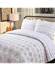 Cozy Line Home Fashions Cute Owl Pink Blue Green Birds Print Pattern Bedding Quilt Set, Reversible 100% Cotton Coverlet, Bedspreads for Kids, Girls
