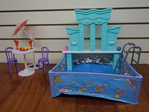 Barbie Size Dollhouse Furniture- Water Fountain & Swimming Pool Play (Fountains Furniture)