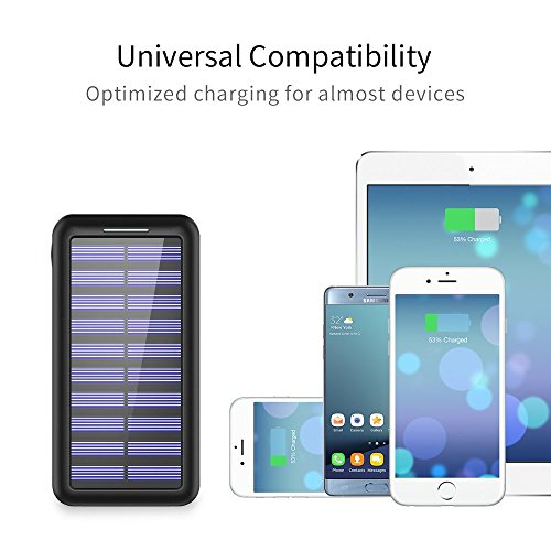 Solar Charger BERNET 24000mAh super major Capacity lightweight Solar power Bank utilizing USB Fan and 3 USB Ports External Battery Pack cellular phone Charger for iPhone iPad Samsung HTC Cellphones and much more Black External Battery Packs