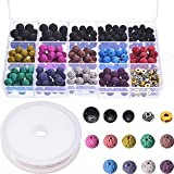 TecUnite 400 Pieces Assorted Colored Lava Rock Stone Volcanic Beads Spacer Beads with Storage Box and 1 Roll Elastic Crystal String for Bracelet Necklace DIY