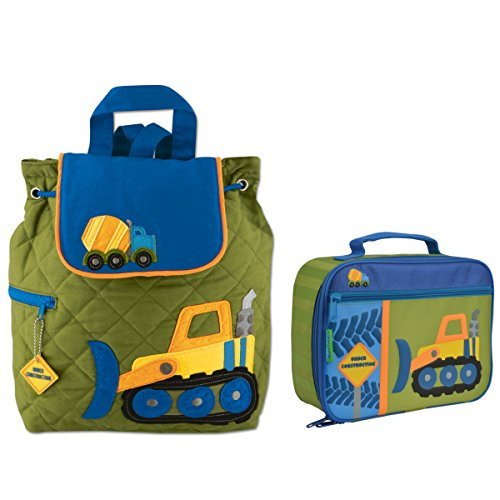 Stephen Joseph Boys Quilted Construction Backpack and Lunch Box for Kids ()