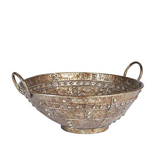 - Household Essentials Rustic Bronze Metal Decorative Bowl Centerpiece, Large