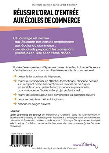 Amazon.fr - Réussir les oraux d admission aux écoles commerce - Les  conseils d un président du jury - Vassili De Lautour - Livres 4f0e2ac92b54