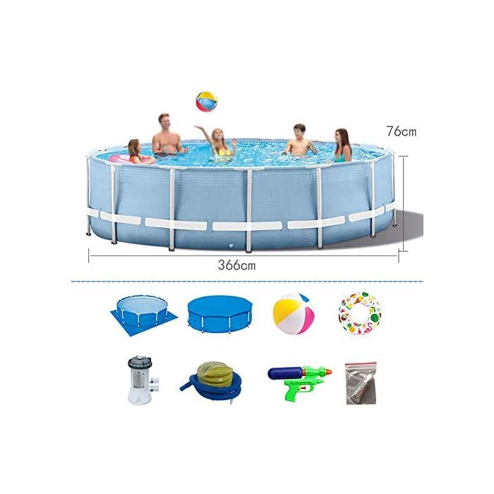 51vWQAM8B4L ▶ Tamaño del producto: el tamaño de la piscina es de 366 * 76 cm, y la capacidad de almacenamiento de agua es de 2006L, que es adecuada para que los niños jueguen en casa. Ideal para los calurosos días de verano. La doble función de entretenimiento y rompecabezas también es un buen regalo para los niños. ▶ Tela de malla de tres capas: malla de tres capas, material de PVC hecho de natación de alta resistencia, duradera y confiable ▶ Soporte metálico de electrochapado antioxidante: la piscina está conectada con tubos de electrochapado antioxidante para prolongar la vida útil