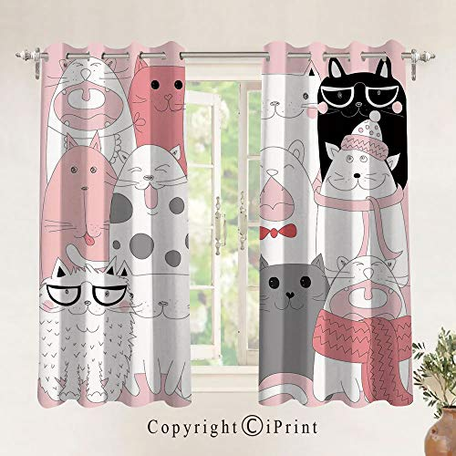 RWNFA Cute Cartoon Kittens Collection Funny Smiling Glasses Scarfs Doodle Humor Blackout Curtains 24.6x63Inch,Set of 2 Panels,Grommet Top,Room Darkening,Light Pink White Black