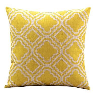 Createforlife Cotton Linen Decorative Throw Pillow Case Cushion Cover Argyle Pattern Lemon Square 18
