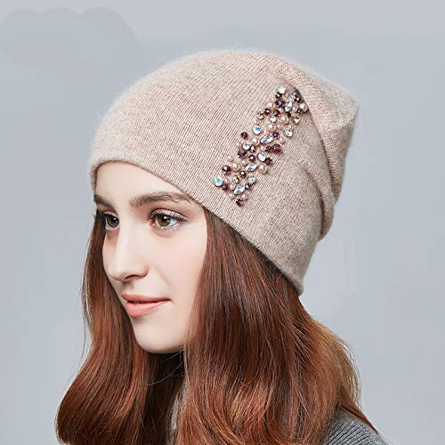 CNC. Winter Hats for Women Knitted Wool Warm Hats Lady Fashion Rhinestones Beanies Skull Cap