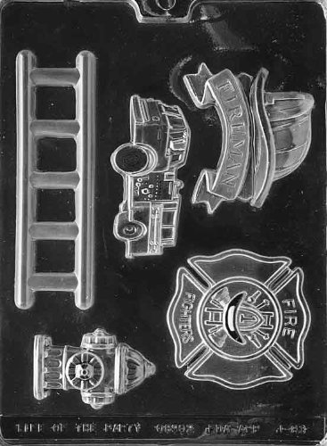 FIREFIGHTER KIT fire truck Ladder fireman hat badge fire hydrant chocolate (Firefighter Cake)