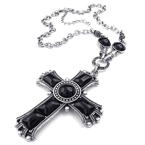 Jonline24h Mens Womens Large Vintage Celtic Cross Pendant Necklace Chain, Black Silver