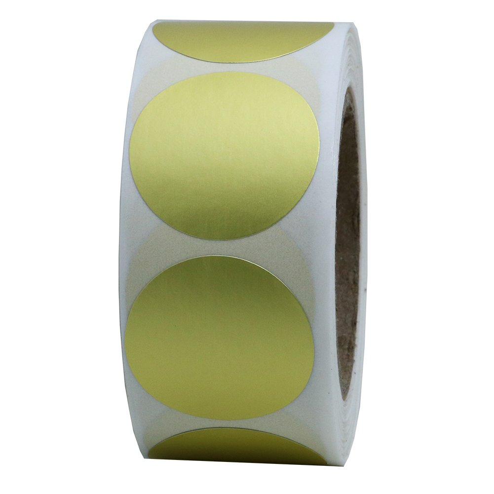 Hybsk Gold Labels 1 Round Color Coding Dots Stickers Adhesive Label 500 Per Roll (1 Roll)