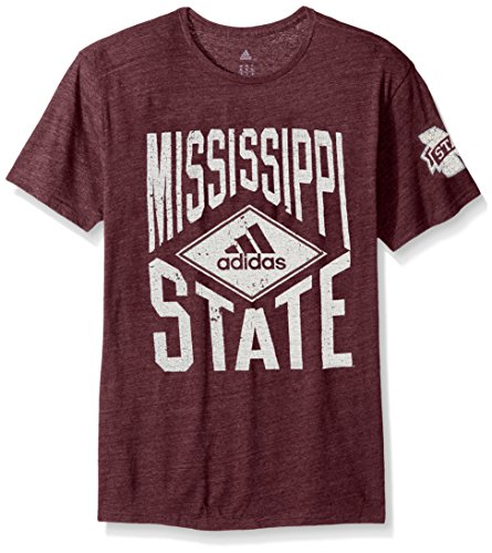 (adidas NCAA Mississippi State Bulldogs Adult Men Diamond Mine Tri-Blend S/Tee, Large, Classic Maroon Heathered)