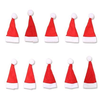10pcs Navidad cubiertos soportes bolsillos gorro de Papá Noel cuchillo y tenedor para cena de Navidad