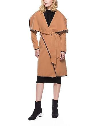 Damen Wollmantel Wasserfallkragen Trenchcoat Mit Gürtel Lange Mantel Outerwear