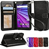 Moto G3 Case, Arae Motorola Moto G 3nd generation 2015 [Wrist Strap] Flip Folio [Kickstand Feature] PU leather wallet case with ID&Credit Card Pockets (Not For Moto G 2nd 2014)(Black)