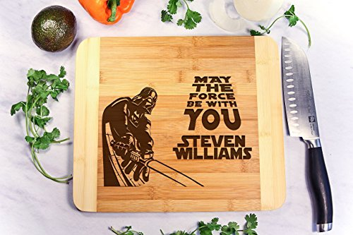 Personalized Cutting Board Engraved Bamboo Chopping Block HDS - Star Wars Darth Vader