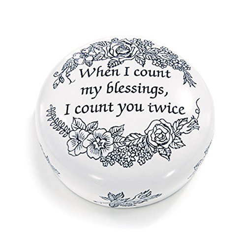 Count Blessings Sentiment Etched Resin Scrimshaw Paperweight Imported from England