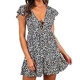 Euone Dress Clearance, Woman Summer Floral Printed Dress Clearance Holiday Button Ruffles Beach Mini Sundress Women Vacation Petal Short Sleeve Deap V-Neck Dresses
