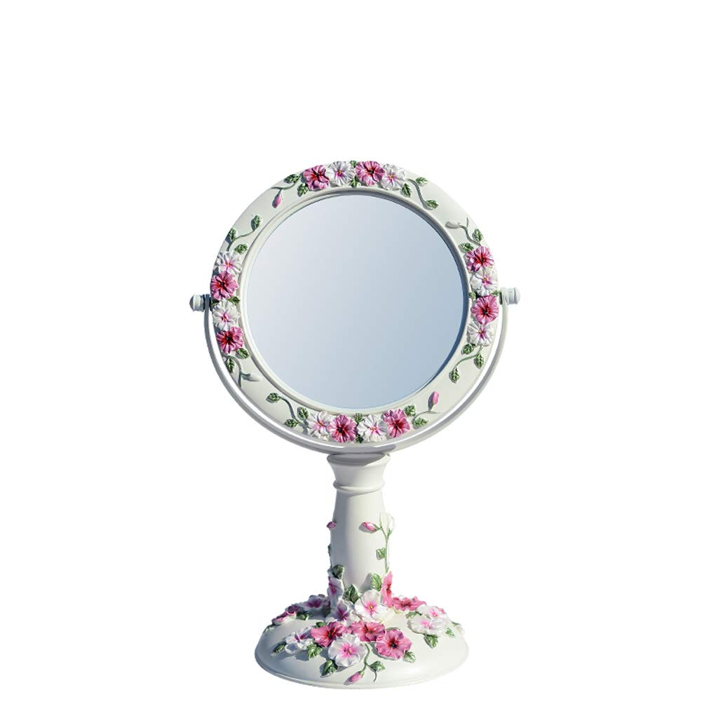 C&Q CQ European-Style Desktop Mirror Pansy Carving Makeup Mirror Desktop Double-Sided Dressing Mirror European Creative Princess Wedding Mirror by C&Q