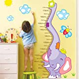 Tenflyer New Elephants Height Wall Art Stickers Kids Nursery Removable Decor Decals Home Mural Chart Measure