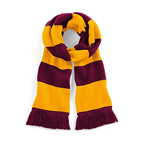 Beechfield Varsity Unisex Winter Scarf (Double Layer Knit) (One Size) (Burgundy/Gold) -