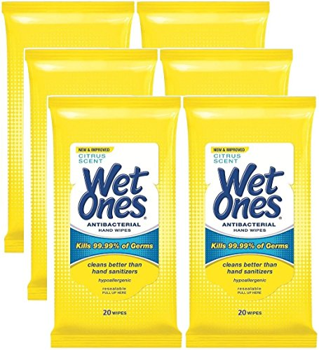 Wet Ones Antibacterial Hands & Face Wipes, Citrus Scent, 20 Count Travel Pack (Pack of 6)